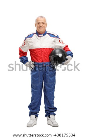 Full length portrait of a mature man in a racing suit holding a gray helmet isolated on white background - stock photo