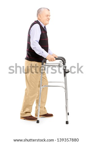 Full length portrait of a middle aged gentleman using a walker isolated on white background
