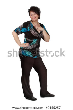 full-length portrait of a middle-aged woman, white  background - stock photo