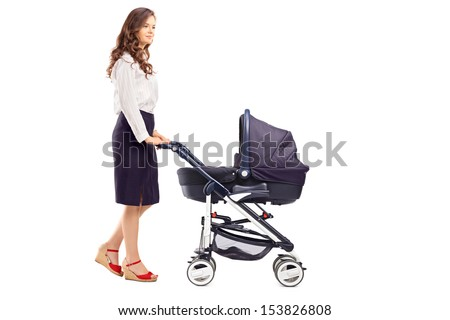 Full length portrait of a mother pushing a baby stroller, isolated on white background - stock photo