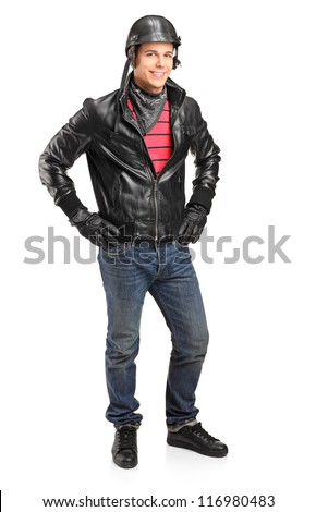 Full length portrait of a motorcycler with helmet posing isolated on white background
