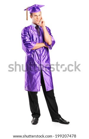 Full length portrait of a pensive man in graduation gown isolated on white background - stock photo