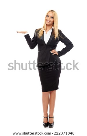 Full length portrait of a positive businesswoman isolated on white background - stock photo