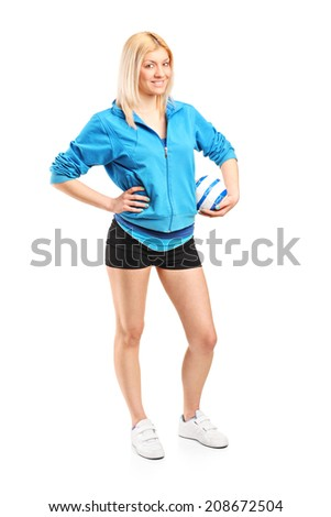 Full length portrait of a professional female handball player isolated on white background - stock photo