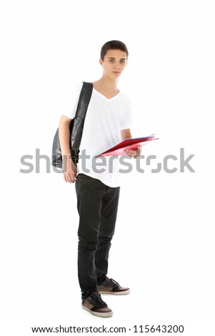 Full length portrait of a relaxed modern good looking teenage boy in jeans, sneakers and a t-shirt isolated on white