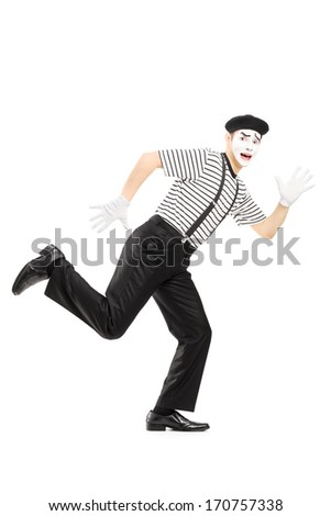 Full length portrait of a scared male mime artist running away isolated on white background - stock photo