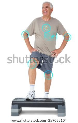 Full length portrait of a senior man against fitness interface - stock photo