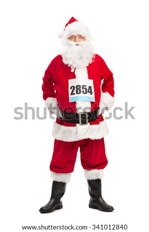 Full length portrait of a senior man in Santa Claus costume with a race number on his chest isolated on white background - stock photo