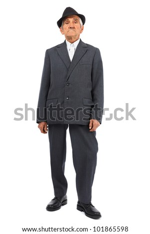 Full length portrait of a senior man isolated on white background - stock photo