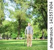Full length portrait of a senior man walking with a cane in a park, shot with a tilt and shift lens - stock photo