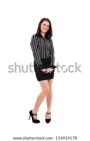 Full length portrait of a shy businesswoman isolated on white - stock photo