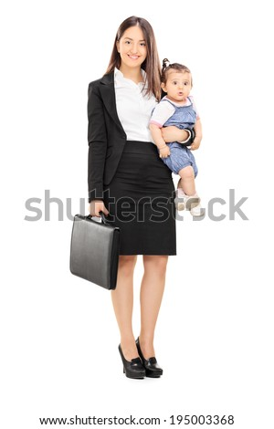 Full length portrait of a single mother holding her baby daughter isolated on white background - stock photo