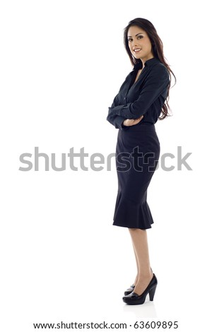 Full length portrait of a smiling Asian business woman with copyspace, isolated over white background