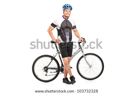 Full length portrait of a smiling bicyclist posing next to a bicycle isolated against white background - stock photo