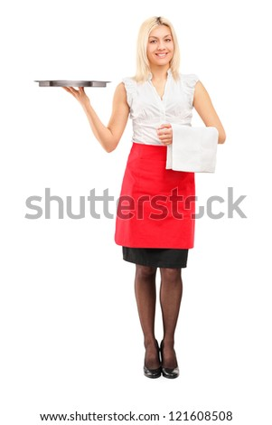 Full length portrait of a smiling female waitress holding a tray isolated on white background - stock photo