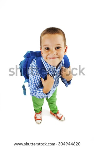 Full length portrait of a smiling school boy with backpack. Isolated on white background - stock photo