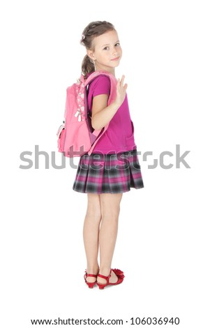 Full length portrait of a smiling schoolgirl with pink backpack over white - stock photo