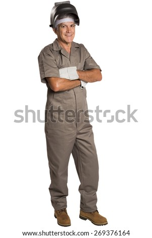 Full length portrait of a smiling worker - stock photo