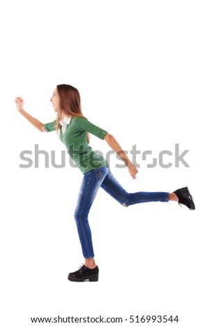 Full-length portrait of a student in a rush running isolated over white background. Positive emotion, in a hurry. To be in time