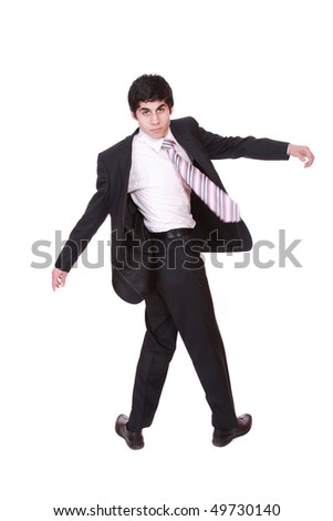 Full length portrait of a successful business man isolated on white.