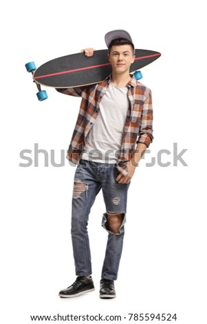 Full length portrait of a teenage hipster with a longboard isolated on white background