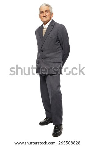 Full length portrait of a thoughtful senior man isolated on white background - stock photo