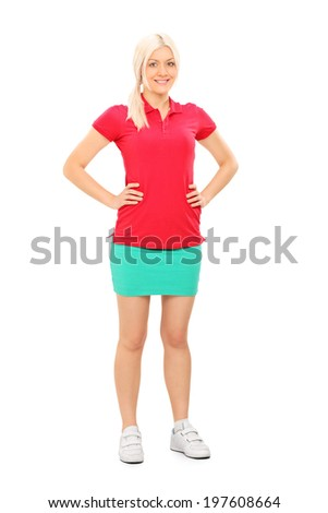 Full length portrait of a woman in tennis outfit posing isolated on white background - stock photo