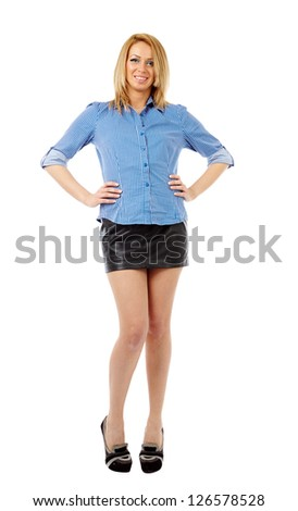 Full length portrait of a young blond businesswoman isolated on white background