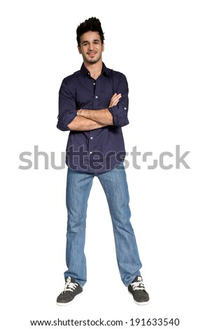 full length portrait of a young boy isolated on white - stock photo