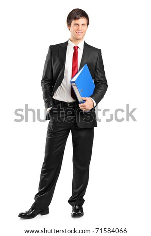 Full length portrait of a young businessman holding documents isolated on white background