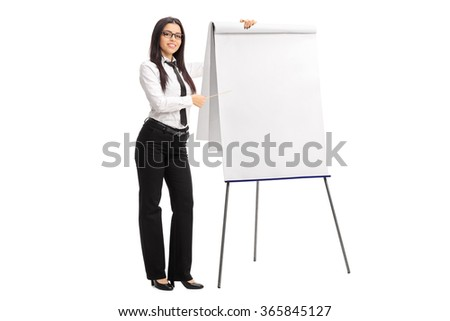 Full length portrait of a young businesswoman pointing on a presentation board with a stick isolated on white background