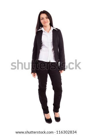 Full length portrait of a young businesswoman standing isolated on white background