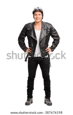 Full length portrait of a young cheerful biker in a black leather jacket isolated on white background - stock photo