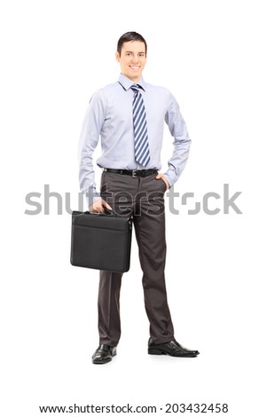 Full length portrait of a young confident businessman posing isolated on white background