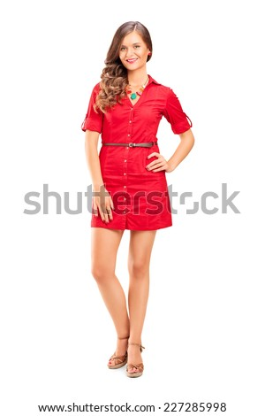 Full length portrait of a young female fashion model isolated on white background - stock photo