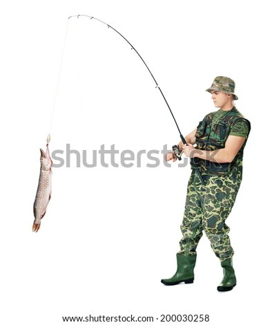 Full length portrait of a young fisherman catching a fish isolated on white background - stock photo