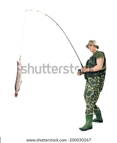 Full length portrait of a young fisherman catching a fish isolated on white background