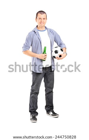 Full length portrait of a young football fan holding a beer isolated on white background  - stock photo