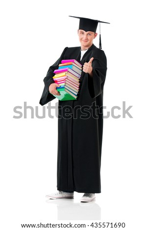 Full length portrait of a young graduation man holding books, isolated on white background - stock photo