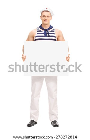Full length portrait of a young handsome sailor holding a blank banner and looking at the camera isolated on white background - stock photo