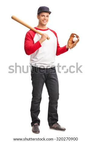 Full length portrait of a young man holding a baseball bat and looking at the camera isolated on white background