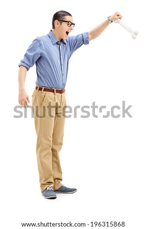 Full length portrait of a young man holding a bone isolated on white background - stock photo
