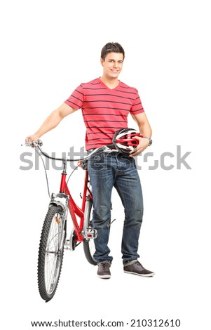 Full length portrait of a young man with a helmet and a bicycle isolated on white background - stock photo