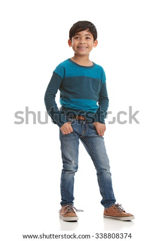 Full length portrait of a young mixed race boy.  Isolated on white. - stock photo