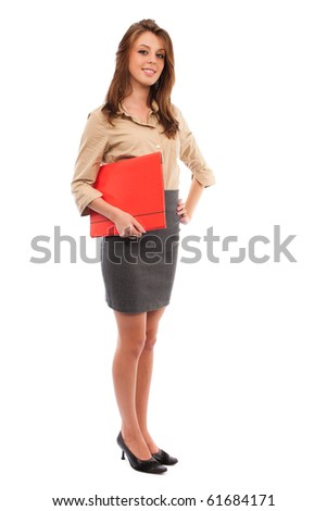 Full length portrait of a young secretary with a red folder