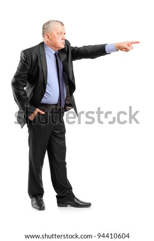 Full length portrait of an angry boss firing an employee isolated on white background - stock photo