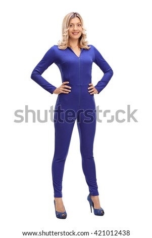 Full length portrait of an attractive woman in a blue one-piece racing suit isolated on white background - stock photo