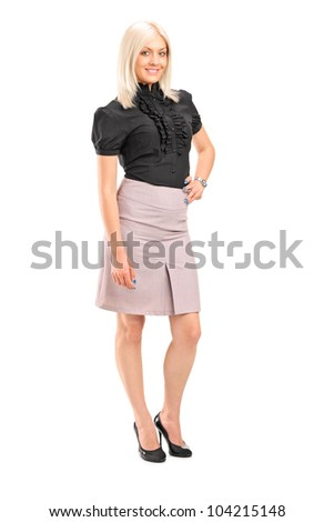 Full length portrait of an attractive woman posing isolated against white background - stock photo