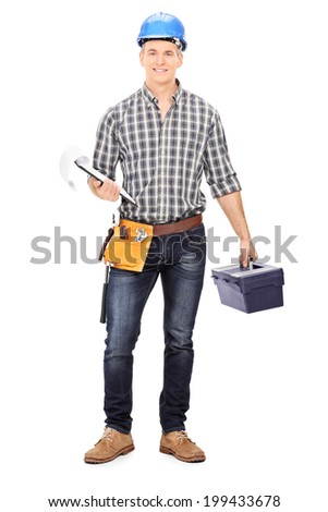 Full length portrait of an engineer holding a toolbox and a clipboard isolated on white background - stock photo