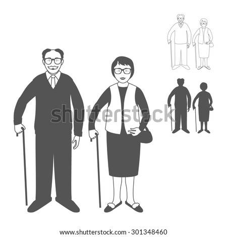 Full length portrait of an handsome old man standing with cane and nice old woman standing with cane. Family. Grandfather and grandmother. Realistic image.